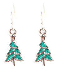 Zest Small Jade Green Enamel Christmas Tree Drop Earrings for Pierced Ears