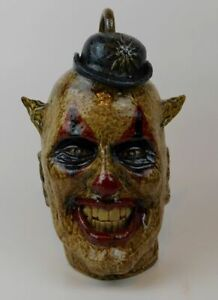 "Folk Art Pottery Face Jug ""Giggles the Clown"" by Vonderhey"