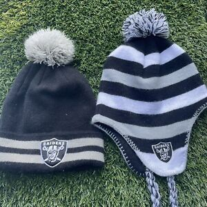 Lot Of 2 YOUTH SIZE Oakland Raiders NFL Beanie Team Puff Ball Toque Winter