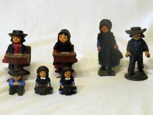 Amish Cast Iron Figures and School Desk Vintage set of 9