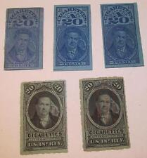 5 Tobacco Cigarettes Stamps, different series, lot #21
