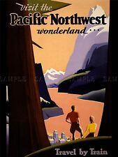 Publicité voyage tourisme Nord-Ouest du Pacifique train montagne Wonderland imprimer lv1291