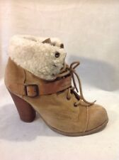 Faith Brown Ankle Suede Boots Size 5