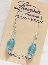LUNASEA TREASURES CARRIBEAN SEA BLUE FACET GLASS BEADED STERLING SILVER EARRINGS