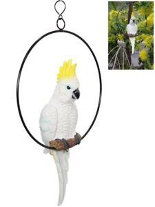 34cm Cockatoo Parrot Australian Native Bird on Hanging Swing Ring Indoor Outdoor