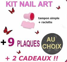 KIT TAMPON + Raclette + 9 PLAQUE stamping NAIL ART / motifs KONAD / Vernis Ongle