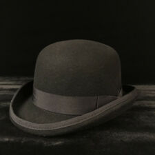 100% Wool Men's Black Brown Bowler Hat Gentleman Crushable Fedora Hat S M L XL