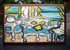 1992 AMY VIGILANTE wicker furniture RELIEF box OIL painting