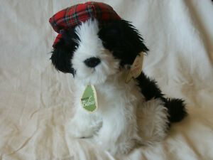 "New with Tags Aurora Babies Sammie Dog Plush in Plaid Hat 9"" Border Collie Puppy"