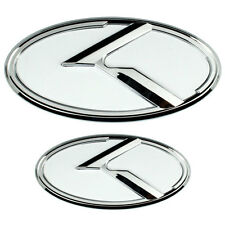 2 CHROME WHITE KIA K EMBLEMS BADGES FOR TRUNK OR HOOD PAIR  MIDDLE/LARGE