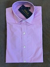 Polo Ralph Lauren rose clair bébé violet Check Formal Slim Shirt 14 1/2 cou