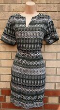 PEACOCKS KHAKI GREEN  WHITE BLACK TRIBAL AZTEC V NECK TUNIC SLIP CAMI DRESS 12 M