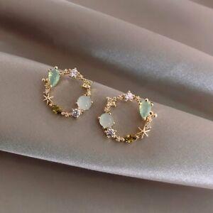 Elegant Flower Wreath Crystal Zircon Pearl Earrings Ear Stud Drop Women Jewelry