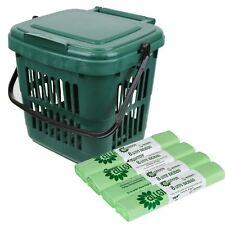 Vented Green 7 Litre Kitchen Food Waste Caddy/Bin&100x8L Compostable Bags