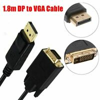 6 Feet 1.8M Mini Display Port DP Male To VGA Male Converter Adapter Cable