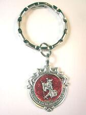 Ornate Catholic St Christopher Medal Red Enamel Italy Key Ring
