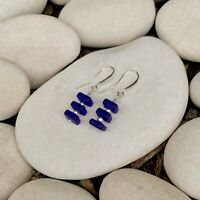 Sterling Silver and Cobalt Blue Sea Glass dangle drop Earrings Artisan Made gift