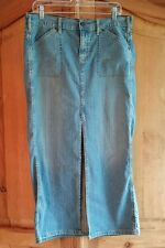 Levis Womens Skirt 12 Jean Blue Denim Front Slit Stretch distressed Misses long