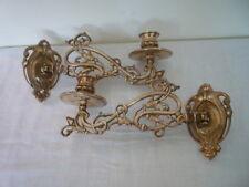 2 Vintage Decorativa in Ottone Candeliere Porta Muro Candelabro da pianoforte stile Nouveau D