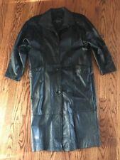 Pelle Studio Women's Full Length Black Leather Trench Coat, Size Medium