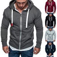 Autumn Winter Men's Hooded Sweatshirt Long Sleeve Zip Slim Coat Hoodies Pullover