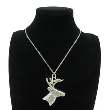 6-3 Silver Alloy Head of Deer Pendant Short Chain Collar Choker Necklace 18""