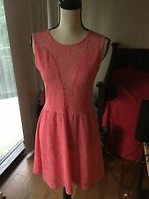 Pretty! For Love Of Lemons salmon pink midi Lace Dress Large $246