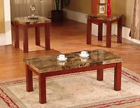 New Faux Marble 3 Piece Coffee and End Table Set Tables, in Black/Cherry Finish