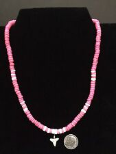 Shark Tooth Necklace (Real Shark Tooth) Pink Coco beads With White Shell Beads