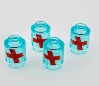 Lego Overwatch Health Packs x4 Lot Trans Light Blue Brick Round 3062bpb059