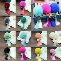 Hot Handbag Pendant Keychain Car Tassel PomPom Ball Key Ring Soft Rex Rabbit Fur
