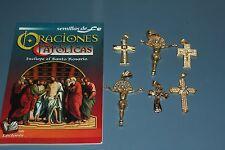 #06 SET BOOK+PENDANTS libro oraciones catolicas,colgante crucifijos 7 items FE