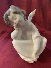 """Lladro 4961 Sitting Boy Angel Dreaming Glazed Ceramic Figure Approx 6"""" Tall"""