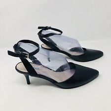 Tahari Womens Size 7.5 Michaela Leather Pump Heels Black Ankle Strap Stilleto S4
