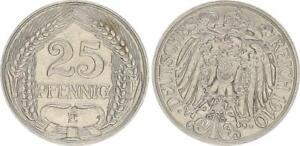 Kaiserreich 25 Pfennig J.18 1910 E prägefrisch 50912