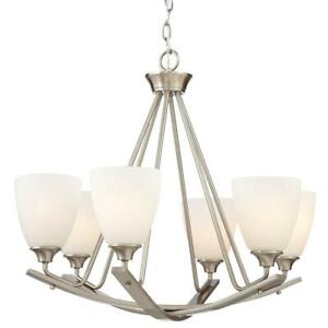 NEW HOME DECORATORS Stansbury Collection 26 in. 6-Light Brushed Nickel Chandelie