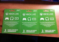 3 Xbox Live 3 Month Gold Membership Cards Free shipping. 9 months total no res.