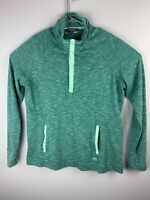 Avalanche Women's Pullover Long Sleeve Snap Button Neck Pouch Pocket Green XL
