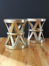 Mid Century 50's Solid Brass Hand Forged X Stools/Drum Tables Made in Hong Kong