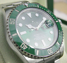 Rolex SUBMARINER 116610 Mens Steel Green Ceramic Time Lapse Bezel HULK 40MM