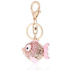 Ciondolo Per Fibbia Borsa Accessori Cristallo Rosa Pesce Portachiavi HK5