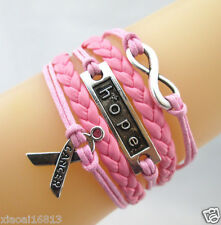 Hot Infinity/Hope/Breast Cancer Awareness Charms Leather Braided Bracelet Pink
