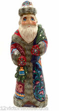 """9.5"""" Tall Russian SANTA with a Bell Wood Hand Carved Hand Painted SIGNED"""