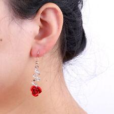 Fashion Womens Jewelry Crystal Red Rose Flower Dangle Drop Earrings