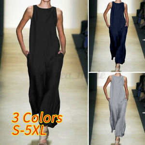 Womens Sleeveless Summer Wide Leg Jumpsuits Loose Baggy Palazzo Romper Playsuits