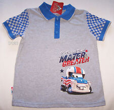 Disney Pixar Cars Mater Boys Grey Blue Printed Polo Shirt Size 4 New