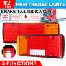 2x 92 LED TRAILER LIGHTS TAIL LAMP BRAKE REVERSE INDICATOR 12V VOLT BOAT UTE