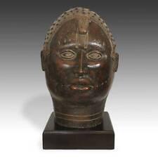 Vintage Royal Portrait Head Oba Terracotta Benin West Africa Late 19Th C.