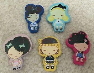 "Lot of 5 Gwen Stefani Harajuku Lovers Collectible Erasers Kawaii Cute 2"" Rare"