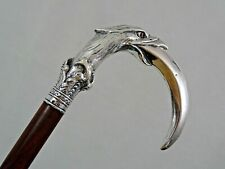 Antique Walking Cane Stick Figural Silver Handle Eagle Claw sterling Austria